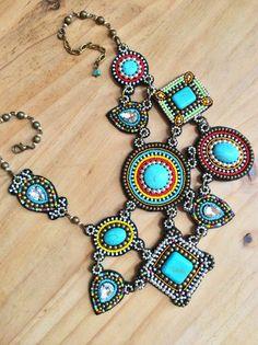 Unique Asymmetrical Beadwork Necklace with por perlinibella en Etsy