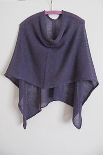 "knit pancho on size 4 needles, 3 skeins of Mirasol Yarn Sulka Legato, 23"" x 63"", 766 - 820 yards"