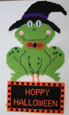 Halloween Frog Wall Hanging Halloween Plastic Canvas Pattern | eBay