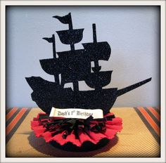 pirate ship cake topper centerpiece  by crepeconfectionary on Etsy, $24.00