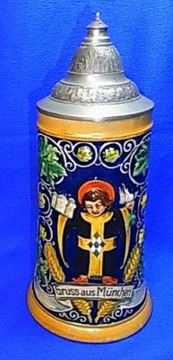 Antique German Souvenir Tin Top Lidded Beer Stein Munich