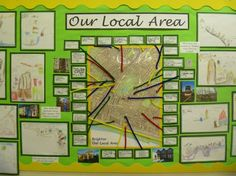 Our Local Area Display - Journeys, maps and addresses. Creating story maps or models to represent the location of the places and features they pass on their way to school. Teaching Displays, Class Displays, School Displays, Classroom Displays, Teaching Ideas, Geography Classroom, Geography Activities, Teaching Geography, Class Activities