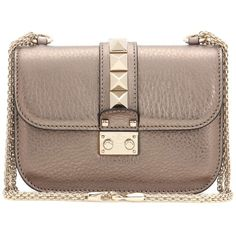 Valentino Valentino Garavani Lock Small Leather Shoulder Bag (121.415 RUB) ❤ liked on Polyvore featuring bags, handbags, shoulder bags, borse, metallic, hand bags, leather handbags, brown shoulder bag, leather hand bags and purse shoulder bag