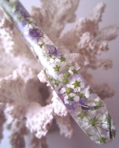 """The """"Chloe"""" Hair Stick Featuring Bridal Wreath Spirea and Lavender Creeping Phlox Blossoms Cast in Clear Resin with Pearl Essence by TimberstoneTurnings"""