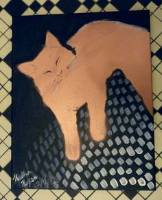 Copper Cat on Black Background by Cynthiana on Etsy, $29.00