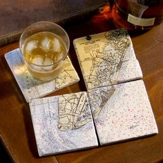 Set of 4 Mural Style Coasters- Your Location!