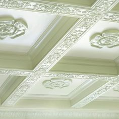 Ceilings, Ceiling Medallions & Ceiling Ornaments - French leaf patten (item #8100) on the beams with Roman Style Ceiling Medallion #4568 (12...