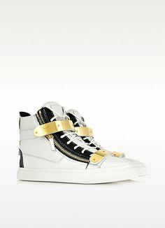 Giuseppe Zanotti Sneakers Noires et Blanches en Cuir