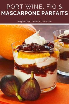 An elegant, fall dessert made with layers of mascarpone cream, fresh figs simmered in port wine, orange zest and slices of sweet navel orange. Fig Recipes, Orange Recipes, Cupcake Recipes, Holiday Recipes, Dessert Recipes, Holiday Meals, Non Chocolate Desserts, Kinds Of Desserts, Fall Desserts