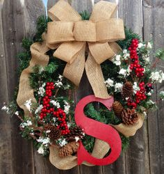 Christmas Monogram Wreath with Burlap and Winter Sprigs on Etsy, $50.00