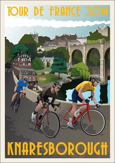 TOUR DE FRANCE 2014 Souvenir Print Race Day Knaresborough on Etsy, 10.00 Visit us @ http://www.wocycling.com/ for the best online cycling store.