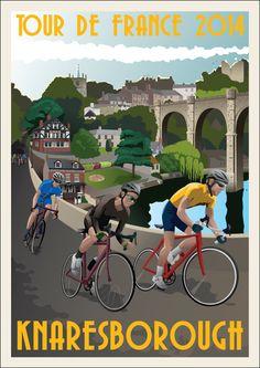 TOUR DE FRANCE 2014 Souvenir Print Race Day Knaresborough on Etsy, 10.00