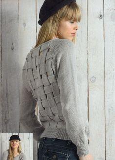 Modèle tricot n°05 du catalogue 107 : Femmes, Spécial expertes, Printemps/été 2014: Modèle pull raglan tressé femme. Fil CABOTINE