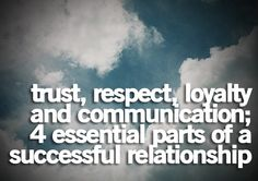 trust, respect, LOYALTY and communication - 4 essential parts of a successful relationship