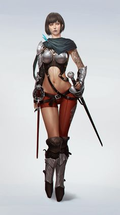 "spassundspiele: ""The Sellsword – fantasy character concept by Arie Hong "" 3d Fantasy, Fantasy Armor, Fantasy Women, Medieval Fantasy, Fantasy Girl, Female Character Design, Game Character, Character Concept, Concept Art"
