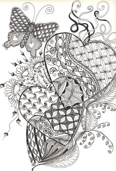 Zentangle Hearts and Butterfly -Collectin Cat's Creations
