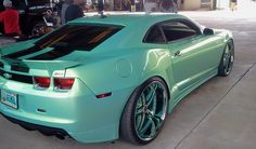 """Orlando Classics 2012 Outrageous Widebody Camaro SS on 24"""" 3pc rims teal green split 5 star wheels"""