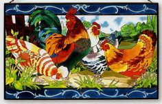 Stained Glass Chickens