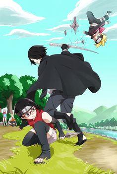 Sakura,Naruto,Sarada,Sasuke y Boruto Naruto And Sasuke, Anime Naruto, Hinata, Comic Naruto, Sarada E Boruto, Manga Anime, Naruto Gaiden, Naruto Team 7, Sasuke Sakura Sarada