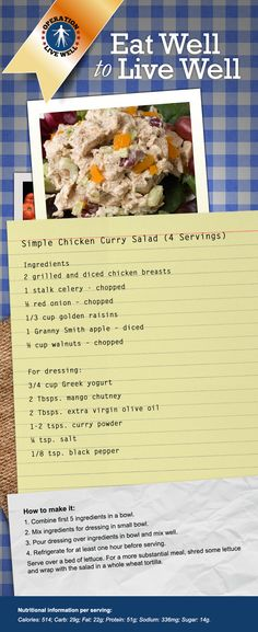Simple Chicken Curry Salad recipe. Amazing!