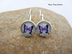 Boucles d'oreilles dormeuses argentées - papillons - faites main sur DaWanda.com <3