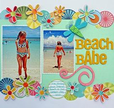 Creative and Romantic Scrapbooking Ideas Repeated circle embellishments with flowers mixed in, draws the eye across the page. A perfect idea for a summary craft. Beach Scrapbook Layouts, Album Scrapbook, Vacation Scrapbook, Scrapbook Designs, Scrapbook Sketches, Scrapbook Paper Crafts, Scrapbooking Layouts, Scrapbook Photos, Wort Collage