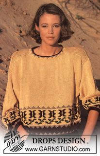 "DROPS jumper with cactus border in ""Muskat"". ~ DROPS Design"