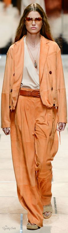 Trussardi Spring 2016 RTW peach  women fashion outfit clothing style apparel @roressclothes closet ideas