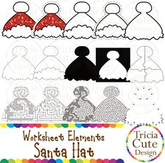 Glitter Santa Hat Worksheet Elements Clipart! Contained in the zip file are 15 PNG files with transparent background , 300dpi and high resolution.This set includes 2 colored images and 13 black and white image.They are great for creating worksheets for tracing, cutting, drawing, counting, etc.