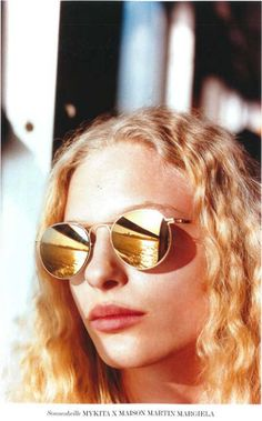 """MYKITA x Maison Margiela """"MMESSE005"""" in Gold/Gold Flash featured in the January 2015 issue of German INTERVIEW MAGAZINE"""
