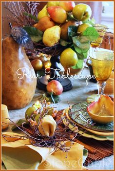 Move over pumpkins! Pears take center stage in this fall tablescape.