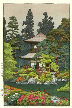Silver Pavilion, Kyoto  by Toshi Yoshida, 1951