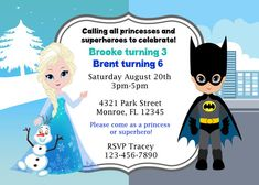 083 DIY  Princess/ Elsa and Batman/ Superhero Party