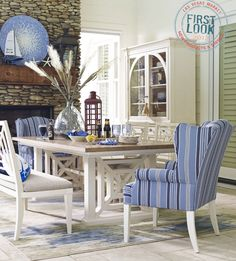 Water's Edge dining from HGTV Home Furniture Collection/Bassett captures the upbeat colors of coastal living. Set sail for Las Vegas Market this summer--the buying begins July 30.