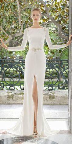 rosa clara wedding dresses sheath with long sleeves slit 2019 elegant - Bridal Gowns Rosa Clara Wedding Dresses, Wedding Dress Sleeves, Colored Wedding Dresses, Elegant Wedding Dress, Perfect Wedding Dress, Best Wedding Dresses, Bridal Dresses, 40s Wedding, Modest Wedding