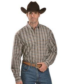 Wrangler George Strait Black & Tan Plaid Shirt