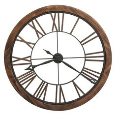 Howard Miller Thatcher Wall Clock In Wood - The Howard Miller Thatcher Wall Clock is a must-have for modern farmhouse-inspired spaces. This oversized metal and wood wall clock features an open design with large Roman numerals. Howard Miller Wall Clock, Mantel Clocks, Wall Clocks, Wall Clock Decor, Aging Metal, Metal Clock, Grandfather Clock, Art Mural, Wall Art