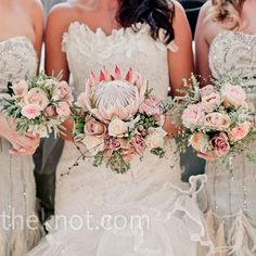 {Wedding Trends} : Rustic Vintage Wedding Bouquets - Belle The Magazine Bouquet De Protea, Bouquet Flowers, Floral Bouquets, Protea Wedding, Wedding Bouquets, Wedding Flowers, Green Wedding, Ideas, Bridesmaid Dresses