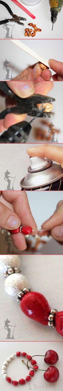 Come utilizzare i noccioli delle Ciliegie - creare un braccialetto @HippyWitchShop #DIY #cherries #bracelet #tutorial #italian