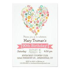 Pin by Birthday Invitations on Heart Birthday Party Invitations