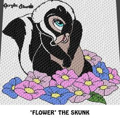 Flower Skunk Cartoon Character Forest Animal Floral crochet graphgan blanket pattern; graphgan pattern, c2c, knitting, cross stitch graph; pdf download; instant download  This is a color graph pattern to follow not a written pattern.  Beautiful flower skunk cartoon character, forest