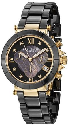 Stuhrling Prestige Women's 512L.13MB1 Swiss Athena Mother-Of-Pearl Swarovski Crystal Chronograph Multi-Function Black Ceramic Watch Stuhrling Prestige. $299.00. Seconds, minute, and 12 hour counter subdials with date window at four o'clock position. Black ceramic triple row link bracelet with deployant push button clasp. Black genuine mother-of-pearl inner dial with matte finished outer dial and gold tone applied Roman numerals and Swarovski crystal markers with  filled ...