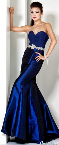 Satin and Chiffon Gown. Love this gorgeous, deep blue.