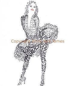 Marilyn Monroe word art typography calligram by Joni James
