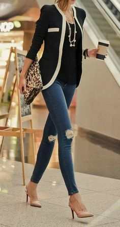 Blazer, Leopard, Ripped Jeans, Nude Heels | Fashion & Lifestyle Inspiration on MagnoliaStyles.blogspot.com