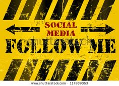 grungy #Follow_Me social media sign or button, #industrial style.