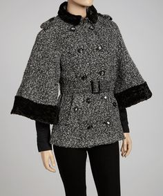 Take a look at this Black & White Double-Breasted Tweed Jacket - Women by Luii on #zulily today!