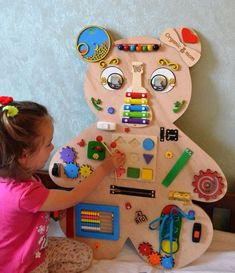 Animal Busy board Sensory board Latch board Toddler toy Busyboard Educational toy Fidget board Busy book Christmas baby toy Gift 2 year old - Sensory Play Ideas - Big Bear Busy board Activity board Montessori toys Wooden toys Kids Crafts, Baby Crafts, Toddler Boy Toys, Baby Boy Toys, Busy Boards For Toddlers, Toddler Busy Board, Diy Busy Board, Busy Board Baby, Toddler Schedule