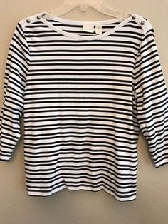 a69e73fc3d109 Chicos Top Size 2 White   Black Stripes 3 4 Sleeve Large Cotton Shirt   Chicos  Pullover  Any