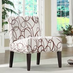Add a dazzling splash of contemporary design to any room in your house with this chic lounge chair. Made of 100-percent Beige polyester fabric with a chocolate swirl print, this chair is a comfortable and useful piece of art for your living space.